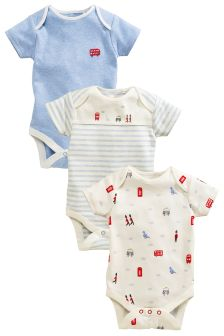 White London Print Sleepsuits Three Pack (0mths-2yrs)