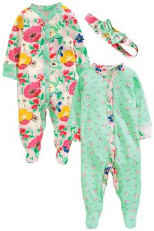 Turquoise Floral Print Sleepsuits Two Pack With Headband (0mths-2yrs)