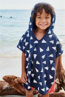 Navy Boat Beach Poncho (9mths-10yrs)