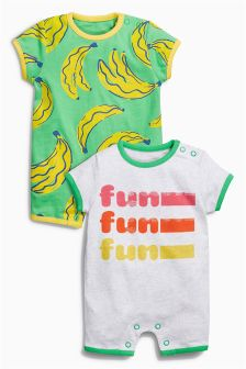 Grey/Green Fun Rompers Two Pack (0mths-2yrs)