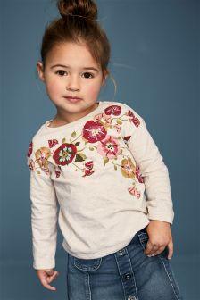 Ecru Floral Embellished T-Shirt (3mths-6yrs)