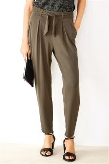 Belted Tapered Leg Trousers
