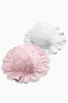 White/Pink Broderie Hats Two Pack (0mths-2yrs)