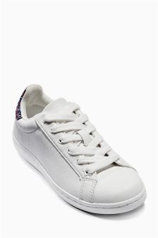 White Glitter Low Tops (Older Girls)