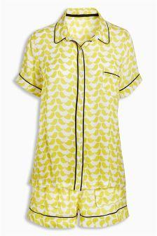 Yellow Button Through Sleep Set