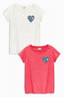 Heart Print T-Shirts Two Pack (3-16yrs)