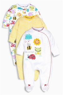Yellow Sunshine Print Sleepsuits Three Pack (0mths-2yrs)
