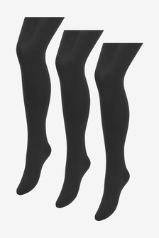 Black 100 Denier 3D Tights Three Pack