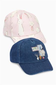 Pink/Navy Bunny Caps Two Pack (Younger Girls)