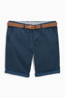 Indigo Geo Belted Shorts