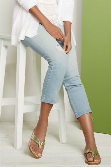 Distressed Hem Crop Jeans