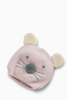 Pink Mouse Beanie (3mths-6yrs)
