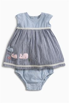 Blue Stripe Dress With Knickers Set (0mths-2yrs)