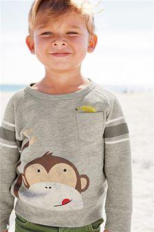 Grey Monkey Print Crew Neck Top (3mths-6yrs)