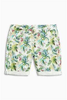 Green Tropical Printed Knee Shorts (3-16yrs)
