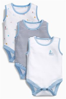 Blue Seaside Print Bodysuits Three Pack (0mths-2yrs)