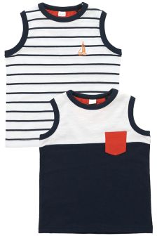 Navy/White Nautical Vests Two Pack (3mths-6yrs)