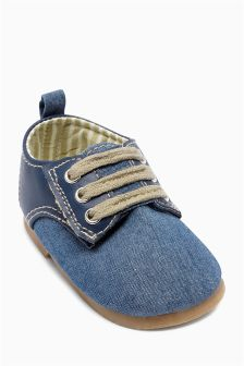 Navy Pram Smart Lace Shoes (Younger Boys)