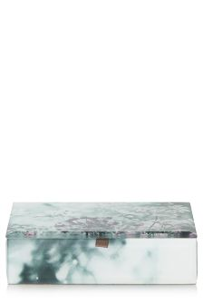 Glass Floral Print Trinket Box