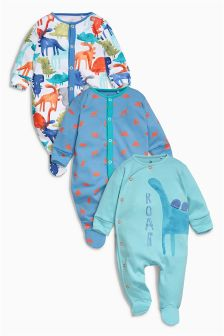 Green Dinosaur Sleepsuits Three Pack (0mths-2yrs)