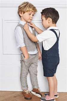 Neutral Linen Blend Waistcoat, Shirt & Bow Tie Set (3mths-6yrs)