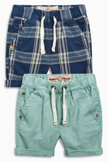 Blue/Green Pull On Shorts Two Pack (3mths-6yrs)
