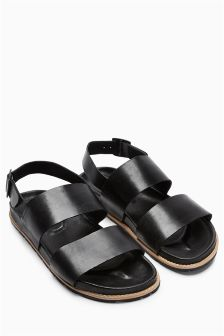 Black Leather Back Strap Sandal
