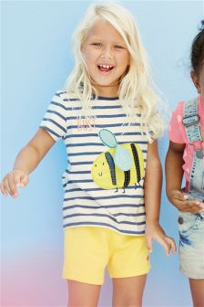 Ecru/Navy Stripe Bee T-Shirt (3mths-6yrs)