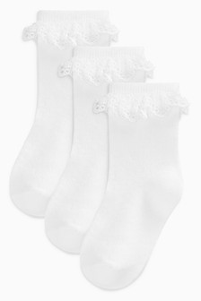 White Lace Socks Three Pack (Younger Girls)