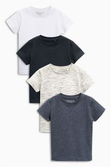 Grey Short Sleeve T-Shirts Four Pack (3mths-6yrs)