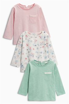 Floral Mix Long Sleeve Tops Three Pack (3mths-6yrs)
