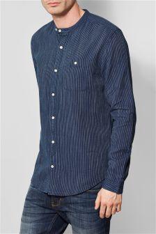 Navy Stripe Grandad Shirt