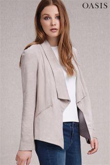 Grey Oasis Suedette Waterfall Jacket