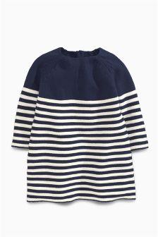 Navy/White Knitted Stripe Dress (0mths-2yrs)