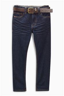 Denim Dk Blue Regular Belted Jeans (3-16yrs)