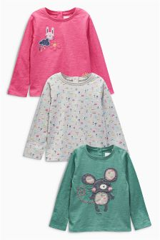 Multi Bright Character Long Sleeve Tops Three Pack (3mths-6yrs)