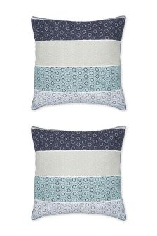 Set Of 2 Teal Origami Pattern Square Pillowcases
