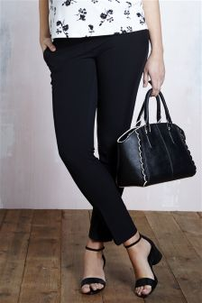 Black Maternity Taper Narrow Bump Band Trousers
