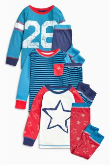 Red/Blue Stripe Star Pyjamas Three Pack (9mths-8yrs)