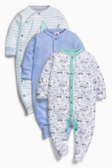 Blue Boats Sleepsuit Three Pack (0mths-2yrs)