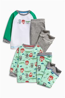 Multi Tiger All Over Print Pyjamas Two Pack (9mths-8yrs)