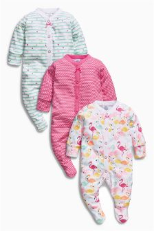 Bright Pink/White All-Over Print Flamingo Sleepsuits Three Pack (0mths-2yrs)