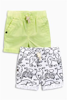 Fluro Green Plain And Print Shorts Two Pack (3mths-6yrs)