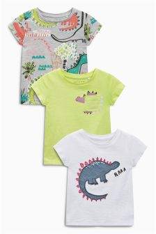 Green/Pink/Grey Bright Dino T-Shirts Three Pack (3mths-6yrs)