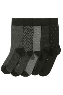 Black Formal Mix Socks Five Pack