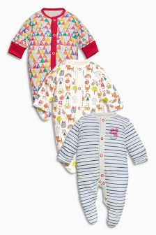 Three Pack Scribble Cat Sleepsuits (0-2yrs)