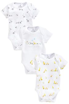 White Noah's Ark Short Sleeve Bodysuits Three Pack (0-12mths)