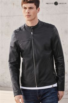 Black Pretty Green Leather Biker Jacket