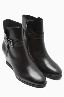 Black Strap Leather Ankle Boots
