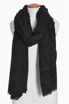 Oversized Scarf With Frayed Interest